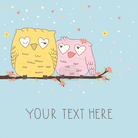 Illustration for Greeting card with cute owls in love - Royalty Free Image