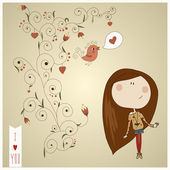 Pretty fashion girl drawn in ink on paper background with soft ornate eps 10