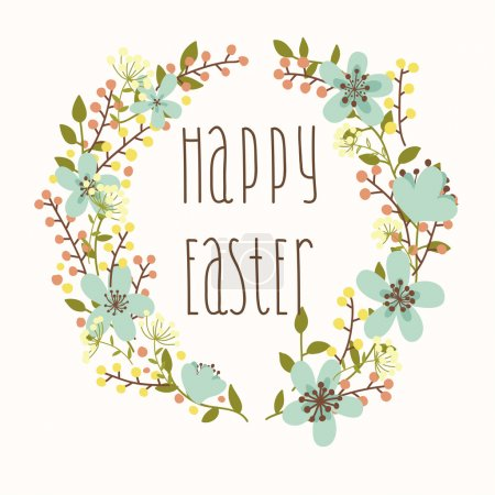 Illustration for Happy Easter card with floral wreath. Bright illustration - Royalty Free Image