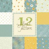12 Elegant romantic vector seamless patterns (tiling)