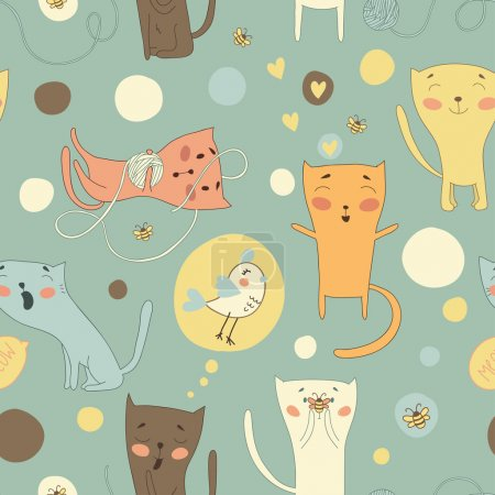 Illustration for Set of funny cartoon cats and bird - Royalty Free Image