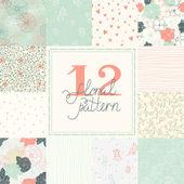 12 Elegant romantic vector seamless patterns