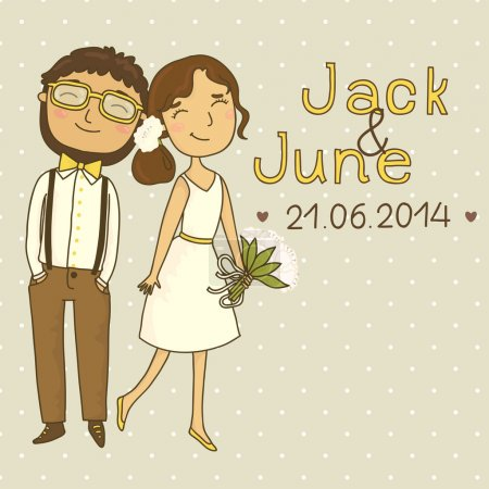 Wedding invitation with a couple of hipsters.