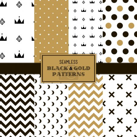 Seamless black and gold patterns