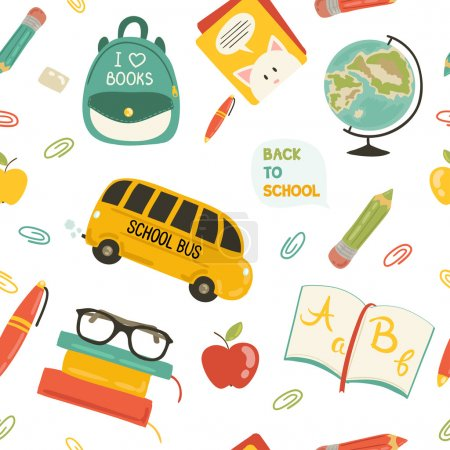 Cute school cartoon colection. ng of the school. Vector set