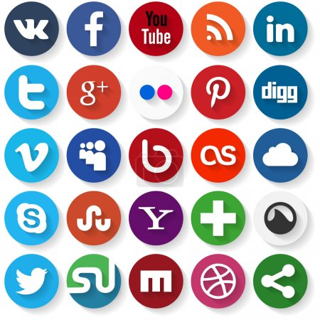 Illustration for Vector set of 25 flat social media icons - Royalty Free Image