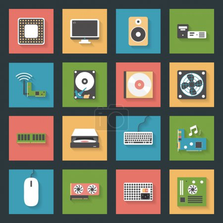 Illustration for Computer peripherals and parts flat icons set design vector graphic illustration - Royalty Free Image