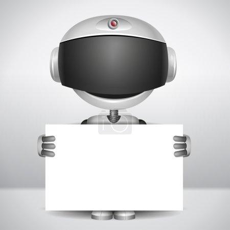 Illustration pour Robot vecteur tenant du papier blanc pour écrire votre texte - image libre de droit