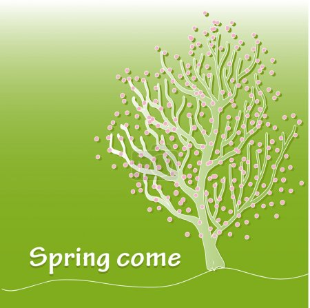 Spring. Green background with blossoming tree. Herb, pink flowers