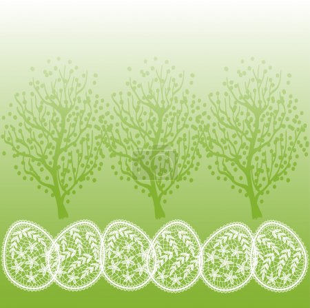 Decorative background with spring trees and Easter...