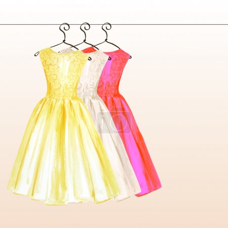 Dresses on the hanger in pastel colors painted in watercolor