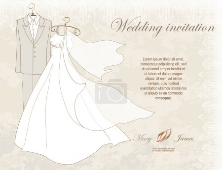 Wedding Invitation decorated with wedding dress and suit