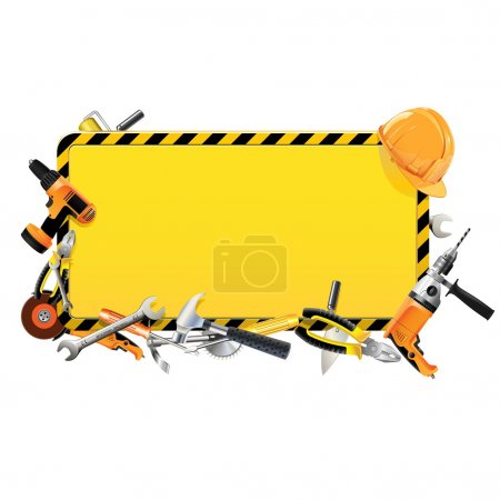 Photo for Vector Construction Frame with Tools - Royalty Free Image