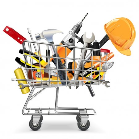 Photo for Vector Trolley with Tools - Royalty Free Image