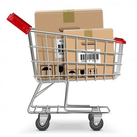 Illustration pour Panier de supermarché vectoriel avec boîte - image libre de droit