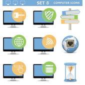 Vektorové ikony počítače sady 8