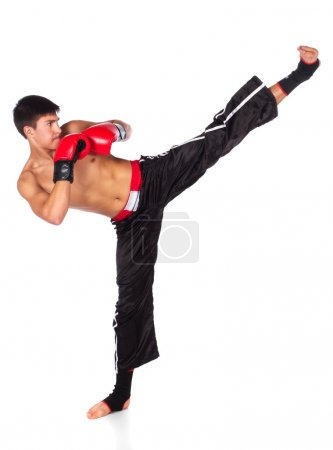 Photo for Young handsome male caucasian kickboxer wearing red boxing gloves and kickboxing gear isolated on a white background - Royalty Free Image