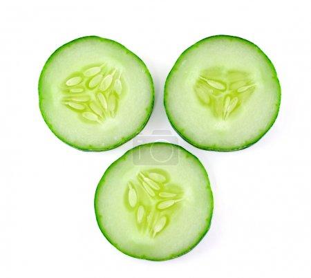 Photo for Fresh sliced cucumber on white background - Royalty Free Image