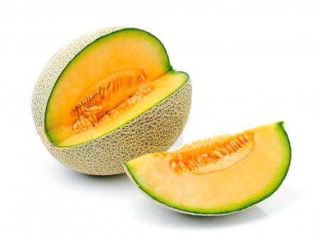 Photo pour Melon Cantaloup sur fond blanc - image libre de droit