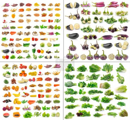 Fruit and Vegetables collection isolated on white background