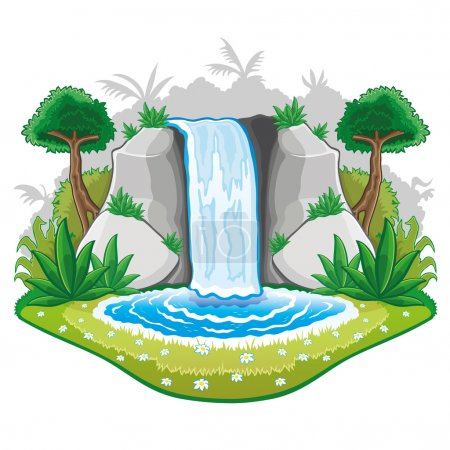 Illustration of cartoon waterfall.