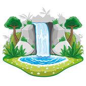 Illustration of cartoon waterfall