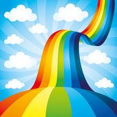 Vector illustration Rainbow on blue background