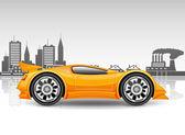 Orange car on city background