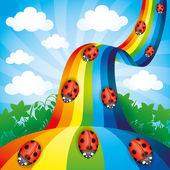 Vector illustration Ladybugs on the rainbow