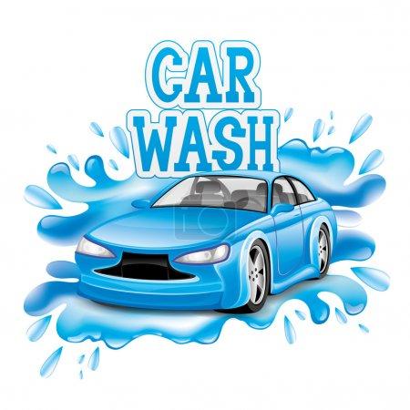 Illustration pour Signe vectoriel isolé sur fond blanc. Lavage voiture . - image libre de droit
