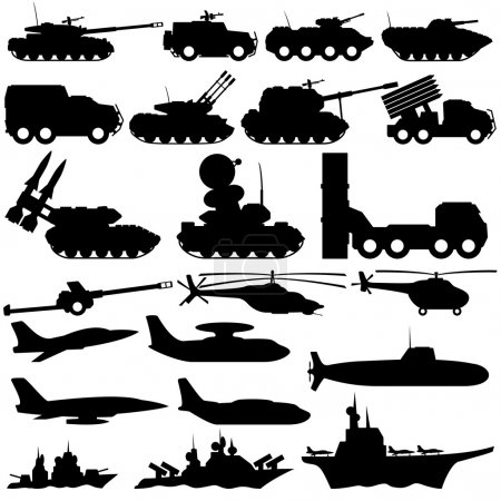 Illustration for Vector signs isolated on white background. Military equipment. - Royalty Free Image