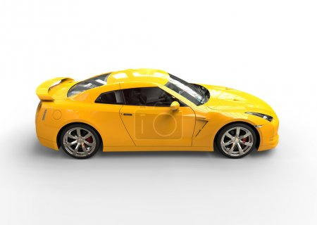 Really fast yellow car side view