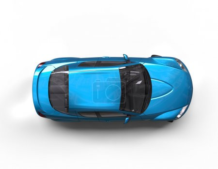 Photo for Bright blue car top view , on white background in ultra high resolution. - Royalty Free Image