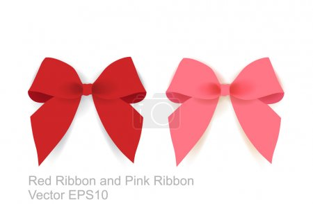 Illustration for Pink Ribbon And Red Ribbon - Royalty Free Image