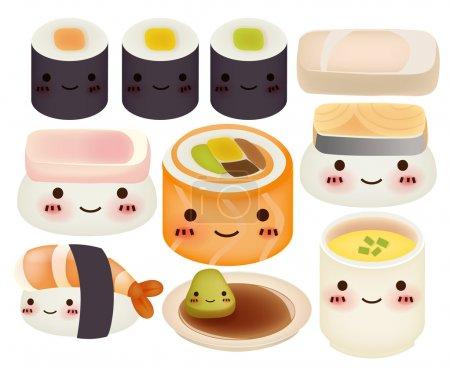 Illustration pour Collection de sushi - fichier vectoriel - image libre de droit