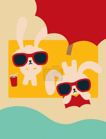 Chic Rabbit on The Beach in Summertime