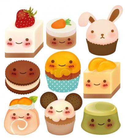 Illustration pour Collection de dessert mignon - Fichier vectoriel EPS10 - image libre de droit