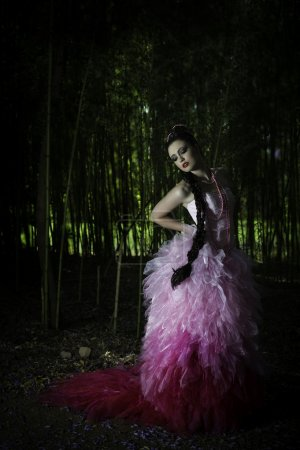 Fantasy woman in enchanted forest