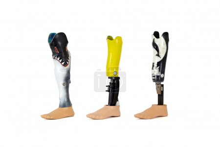 Three lower leg prostheses with waterprotected cases especially