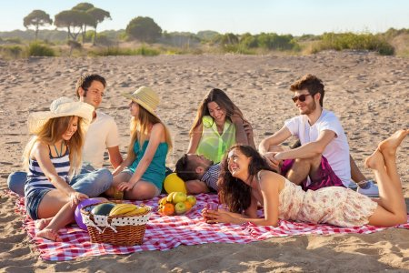 Young party people having enjoyable picnic on the beach