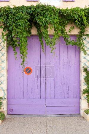 Pink painted garage door