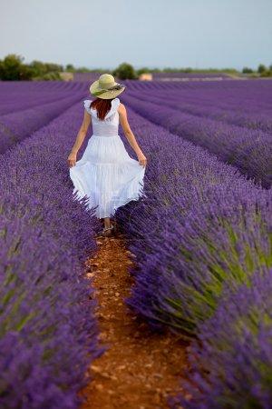 Woman in field of lavender