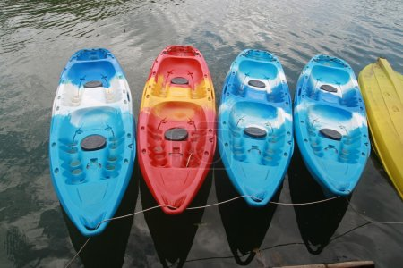 Kayaks in lake