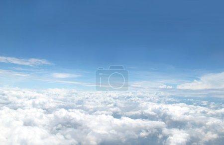 Blue skyfrom airplane window