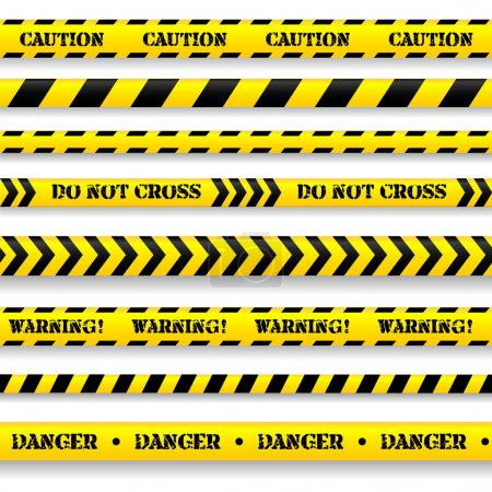 Set of caution tapes.