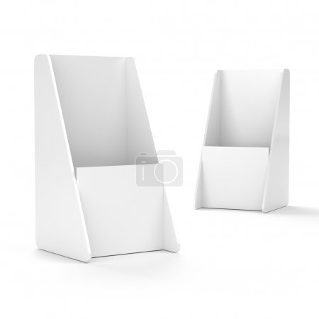 Photo for White blank empty flier holder or display stand for dl format. 3d render - Royalty Free Image