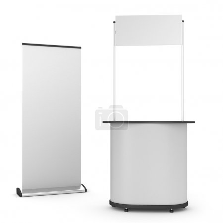 Booth or kiosk with rollup
