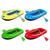 čtyři barevné nafukovací čluny