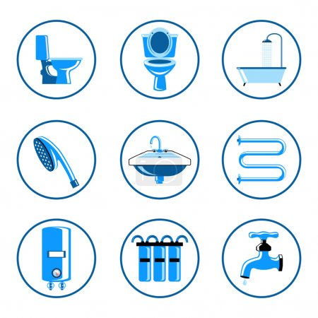 Illustration pour Ensemble d'icônes de plomberie - image libre de droit