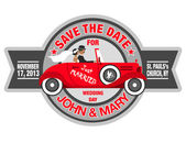 Wedding invitation with bride and groom in retro car